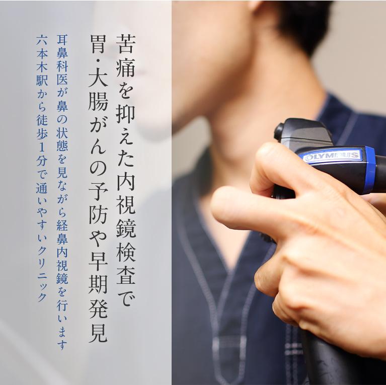 苦痛を抑えた内視鏡検査で胃・大腸がんの予防や早期発見 耳鼻科医が鼻の状態を見ながら経鼻内視鏡を行います。六本木駅から徒歩1分で通いやすいクリニック